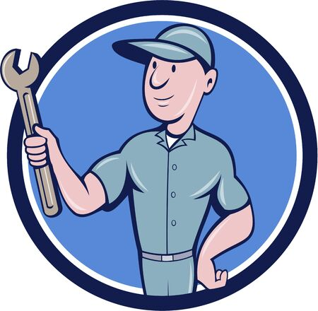 Illustration of a repairman handyman worker wearing hat holding spanner wrench looking to the side set inside circle done in cartoon style.