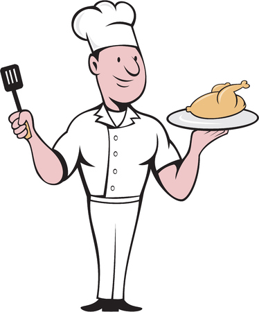 roast chicken: Illustration of a chef cook standing serving roast chicken on a platter on one hand and holding a spatula on the other hand viewed from front set on isolated white background done in cartoon style.