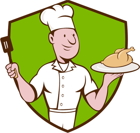 roast chicken: Illustration of a chef cook serving roast chicken on a platter on one hand and holding a spatula on the other hand viewed from front set inside shield crest on isolated background done in cartoon style. Illustration