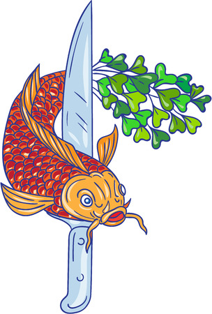 Drawing sketch style illustration of a knife and a  trout fish with microgreen tail  viewed from front set on isolated white background.