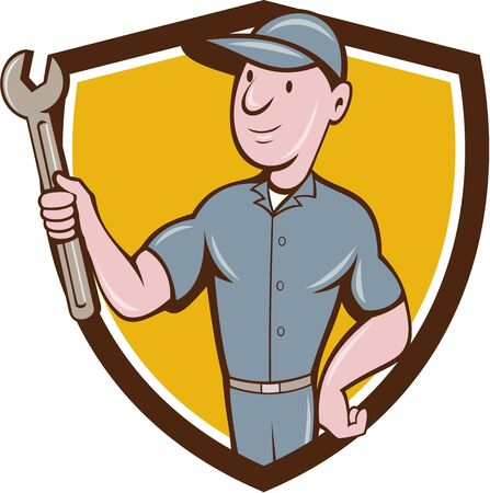 Illustration of a repairman handyman worker wearing hat holding spanner wrench looking to the side set inside shield crest done in cartoon style. Illustration