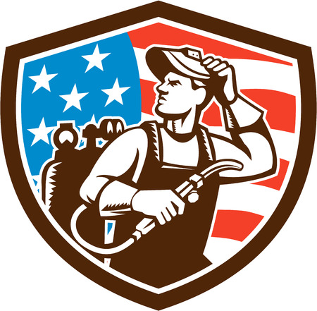 Illustration of a welder rod-holder with cable and electrode for electric arc welding and welder visor mask looking to the side with usa american stars and stripes flag in the background set inside shield crest done in retro style. Illustration