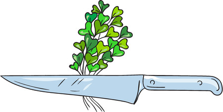 Drawing sketch style illustration of a knife with microgreen vegetables set on isolated white background. Stock Vector - 60769776