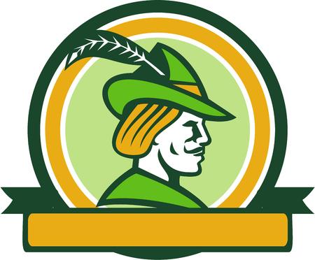Illustration d'un chapeau médiéval portant Robin Hood avec un bord pointu et plume vu de jeu côté intérieur cercle avec un ruban isolé sur fond fait dans le style rétro. Banque d'images - 60769784
