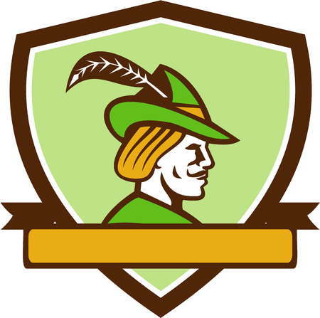 brim: Illustration of a Robin Hood wearing medieval hat with a pointed brim and feather viewed from side set inside shield crest with ribbonon isolated background done in retro style.
