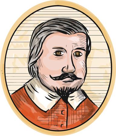 oval shape: Illustration of a Medieval aristocrat gentleman with beard and moustache facing front set inside oval shape done in retro woodcut style.