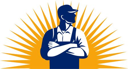 arms folded: Illustration of an organic farmer wearing hat and overalls arms folded looking to the side viewed from front with sunburst in the background done in retro style.
