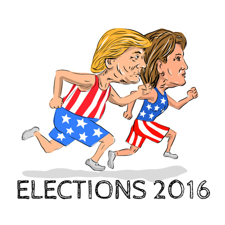 Illustration showing Republican Donald Trump and Democrat Hillary Clinton run running race for president in Election 2016 done in cartoon style.