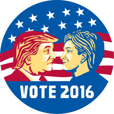 Illustration showing Republican Donald Trump versus Democrat Hillary Clinto face-off for American president with words Vote 2016 with stars and stripes set inside circle done in stencil retro art style.