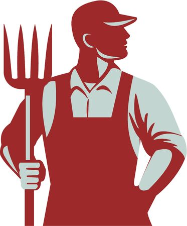 Illustration of organic farmer holding pitchfork looking to the side with one hand in pocket viewed from front  set on isolated white background done in retro style.