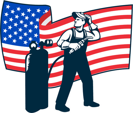 fabrication: Illustration of welder worker standing with visor up looking to the side holding welding torch with tank viewed from front with usa american stars and stripes flag wavy waving in the background done in retro style.
