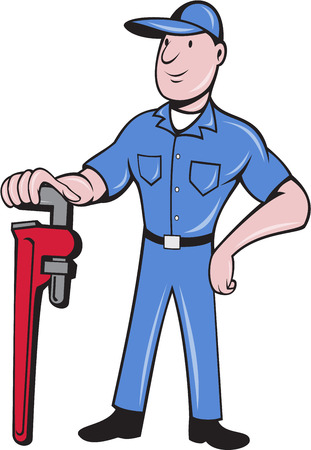 pipe wrench: Illustration of a plumber pipe worker standing leaning on pipe wrench with other hand on hips viewed from front set on isolated white background done in cartoon style.  background.