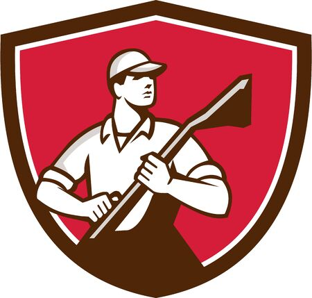 cleaner worker: Illustration of a professional male carpet cleaner worker holding vacuum cleaner looking to the side viewed from front set inside shield crest on isolated background done in retro style.