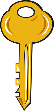 Illustration of a gold key set on isolated white background done in cartoon style.
