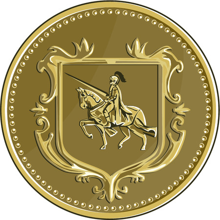 steed: Illustration of knight in full armor with lance riding horse steed viewed from the side set inside coat of arms shield crest and medallion done in retro style.
