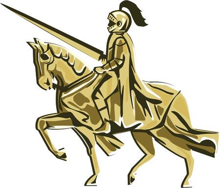 Illustration de chevalier en armure avec lance équitation destrier vu du côté mis sur fond blanc isolé fait dans le rétro style.