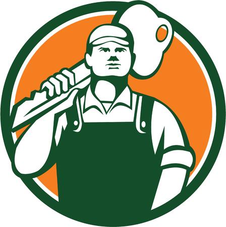 Illustratie van een slotenmaker staan tegenover de voorkant uitvoeren sleutel op de schouder set binnen cirkel op witte achtergrond gedaan in retro stijl.