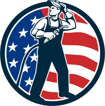 visor: Illustration of welder worker standing with visor up looking to the side holding welding torch with tank viewed from front set inside circle with usa american stars and stripes flag in the background done in retro style.