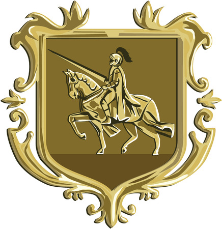steed: Illustration of knight in full armor with lance riding horse steed viewed from the side set inside coat of arms shield crest done in retro style.
