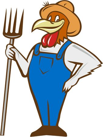 Illustration of a chicken farmer wearing overalls and hat standing holding pitchfork on one hand and the other hand on hips viewed from front set on isolated white background done in cartoon style.