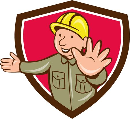 hand stop: Illustration of a builder construction worker wearing hardhat doing hand stop signal viewed from front set inside shield crest on isolated background done in cartoon style.