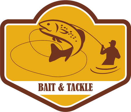 speckled trout: Illustration of a trout fish jumping and fly fisherman fishing viewed from the side set inside shield crest with the words Bait & Tackle in the bottom done in retro style. Illustration