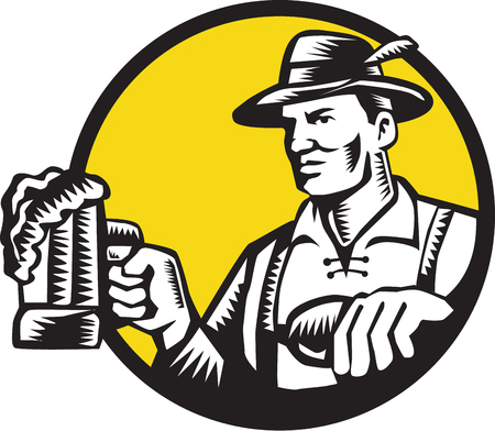 the drinker: Illustration of a Bavarian beer drinker holding beer mug wearing lederhosen and German hat looking to the side set inside circle done in retro woodcut style.