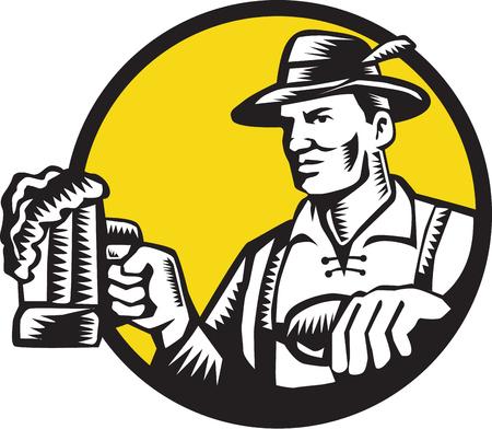 printmaking: Illustration of a Bavarian beer drinker holding beer mug wearing lederhosen and German hat looking to the side set inside circle done in retro woodcut style.
