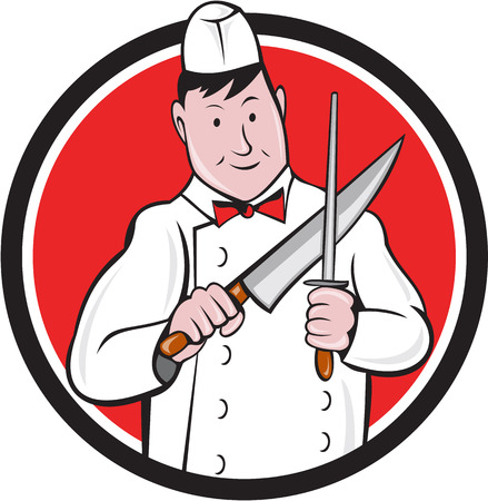 sharpening: Illustration of a butcher cutter worker sharpening knife viewed from front set inside circle on isolated background done in cartoon style. Illustration