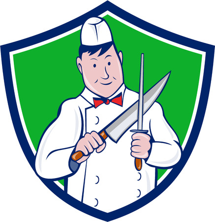 sharpening: Illustration of a butcher cutter worker sharpening knife viewed from front set inside shield crest on isolated background done in cartoon style.
