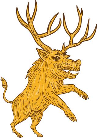 jabali: Gráfico de la ilustración del estilo del bosquejo de un cerdo del razorback jabalí con astas PRANCING visto desde el conjunto de lado en el fondo blanco aislado. Vectores