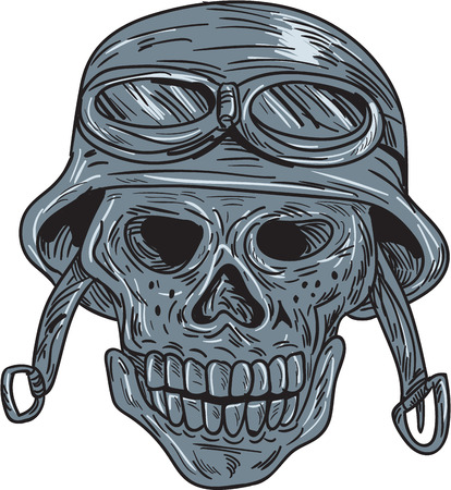 scratch board: Drawing sketch style illustration of a skull biker wearing bike helmet viewed from front set on isolated white background.