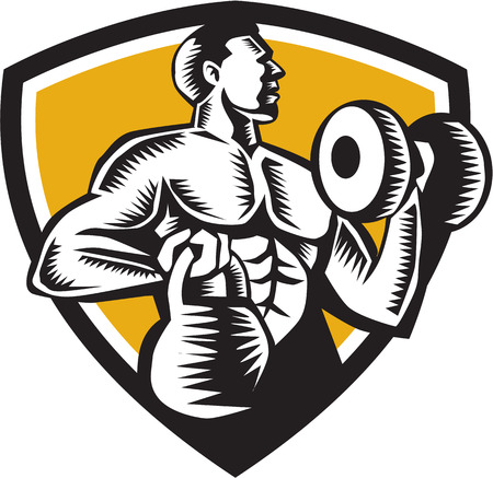 Illustration of an athlete weightlifter lifting kettlebell with one hand and pumping dumbbell on the other hand facing side set inside shield crest on isolated background done in retro woodcut style.
