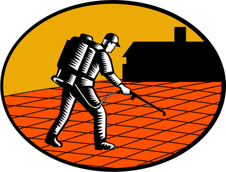 Illustration of a paver sealer contractor sealing paving with house in the background set inside oval shape done in retro woodcut style.