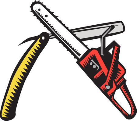 cutthroat: Illustration of a chainsaw crossed with a straight razor set on isolated white background done in retro woodcut style. Illustration