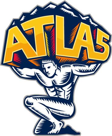 アトラスは運ぶ単語を持ち上げる山折り敷きのイラスト アトラスは、フロント レトロな木版画のスタイルで行われる分離の白い背景の設定から表示