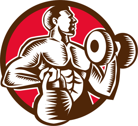 Illustration of an athlete weightlifter lifting kettlebell with one hand and pumping dumbbell on the other hand facing side set inside circle on isolated background done in retro woodcut style.