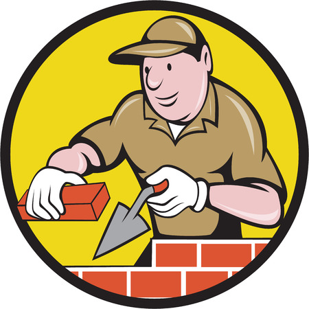 Illustration of a bricklayer mason plasterer construction worker at work holding brick and trowel set inside circle done in cartoon style. Illustration