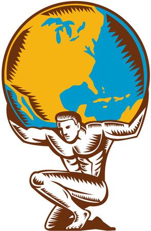 アトラスは、レトロな木版画のスタイルで行われる分離の白い背景のセット背中にリフティング グローブ世界地球を運ぶ折り敷きのイラスト。
