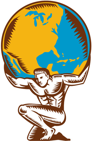 Illustration of Atlas kneeling carrying lifting globe world earth on his back set on isolated white background done in retro woodcut style.