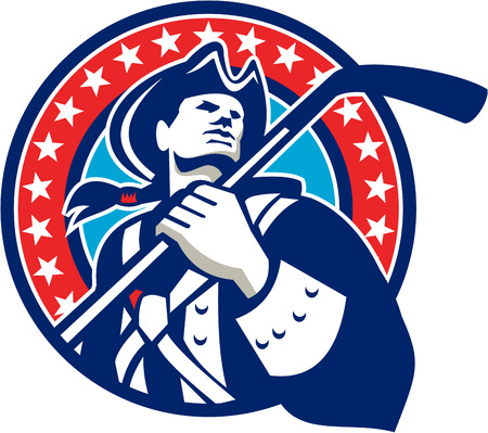 american revolution: Illustration of an american patriot holding ice hockey stick looking to the side viewed from front set inside circle with stars in the background done in retro style.