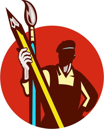 Illustration of an artist painter holding a pencil and paintbrush set inside circle on isolated background done in retro style.