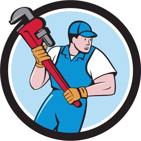 pipe wrench: Illustration of a plumber holding giant pipe wrench looking to the side viewed from front set inside circle on isolated background done in cartoon style. Illustration