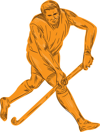 field hockey: Drawing sketch style illustration of a field hockey player running with stick striking viewed from front set on isolated white background. Illustration