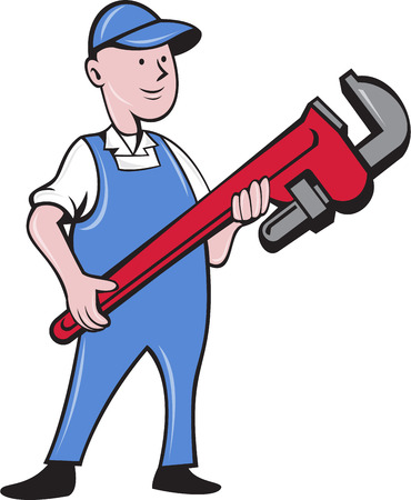 cradling: Illustration of a mechanic cradling holding giant pipe wrench standing looking to the side viewed from front set on isolated white background done in cartoon style.
