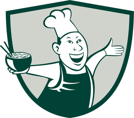 taiwanese: Illustration of an asian chef dancing holding serving a bowl of noodle viewed from front set inside shield crest on isolated background done in cartoon style.