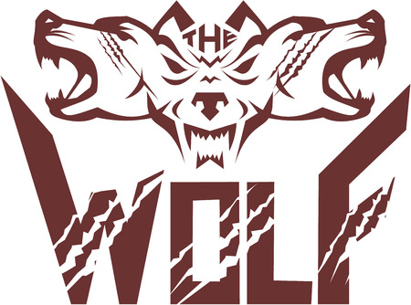 Illustration of a pack of wolf heads viewed from front set on isolated white background with the text word The Wolf done in retro style.
