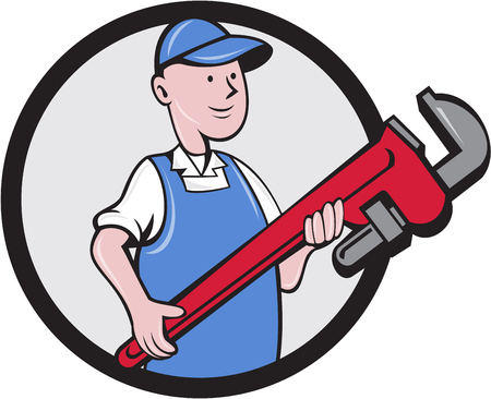 Illustration of a mechanic cradling holding giant pipe wrench looking to the side viewed from front set inside circle on isolated background done in cartoon style. Illustration