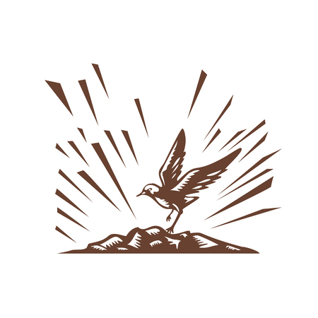 printmaking: Illustration a plover bird landing on a treeless island set on isolated white background done in retro woodcut style.