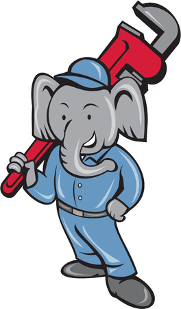 pachyderm: Illustration of an african elephant plumber mascot standing holding monkey wrench on shoulder set on isolated white background done in cartoon style.